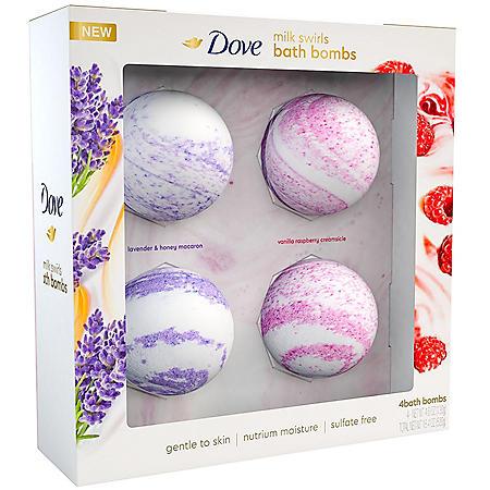 Dove Milk Swirls Bath Bombs (4.6 oz., 4 pk.)