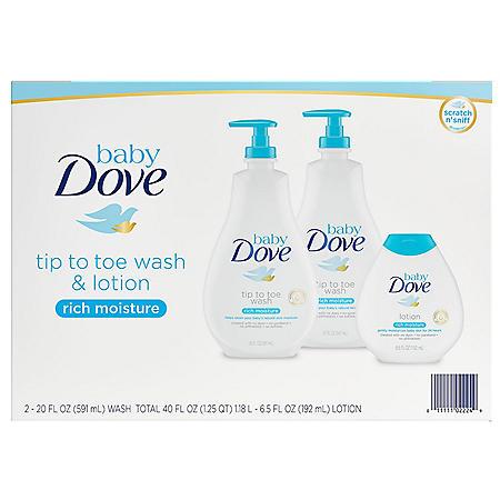 Baby Dove Wash and Lotion (2 - 20 fl. oz. & 1 - 6.5 fl. oz.)
