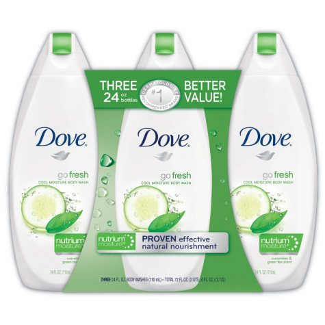 Dove Go Fresh Body Wash, Cool Moisture (24 fl. oz., 3 pk.)