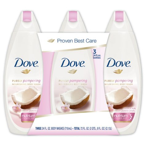 Dove Purely Pampering Body Wash, Coconut Milk (24 fl. oz., 3 pk.)