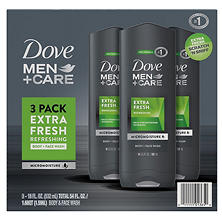 Dove Men+Care Body and Face Wash, Extra Fresh (18 oz., 3 pk.)