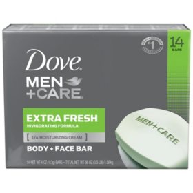 Dove Men+Care Body and Face Bar Extra Fresh (4 oz., 14 ct.)