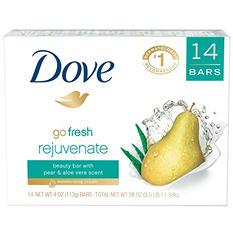 Dove Go Fresh Rejuvante Beauty Bar, Pear and Aloe Vera (4 oz., 14 ct.)