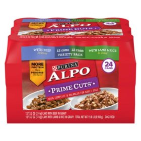 Purina Alpo Prime Cuts Beef in Gravy and Lamb and Rice in Gravy Wet Dog Food, Variety Pack (13.2 oz. cans, 24 ct.)