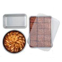 """Nordic Ware Naturals Set: 9"""" x 13"""" Cake Pan with Lid, 9"""" Round Cake Pan, 1.5 lb. Loaf Pan"""