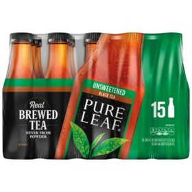Pure Leaf Black Tea, Unsweetened (18.5 fl. oz. bottles, 15 ct.)