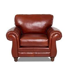 Klaussner Vaughn Leather Chair, Cognac