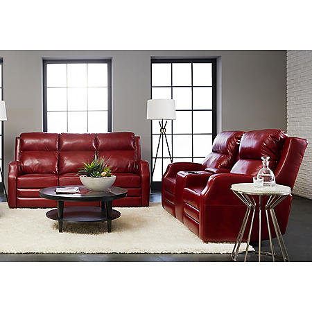 Kessler Leather Power Reclining Sofa and Console Power Reclining Loveseat  with Power Headrest, Power Lumber Support, Power Extended Footrest with ...