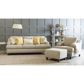 Wondrous Klaussner Maria Sofa Accent Chair And Ottoman Living Room Creativecarmelina Interior Chair Design Creativecarmelinacom