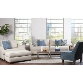 Klaussner Tabby Sofa, Oversized Chair, Ottoman and Accent ...