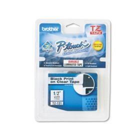 "Brother P-Touch TZe131 Label Tape, 1/2"", Black on Clear"