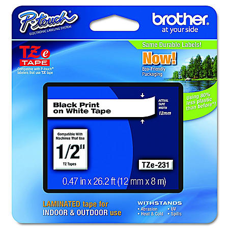 "Brother P-Touch TZe231 Label Tape, 1/2"", Black on White"
