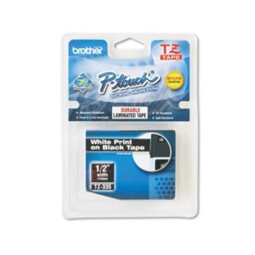 "Brother P-Touch TZe335 Label Tape, 1/2"", White on Black"