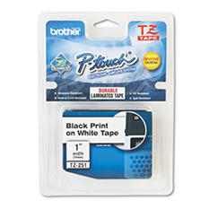 "Brother P-Touch - TZe251 Label Tape, 1"", Black on White"