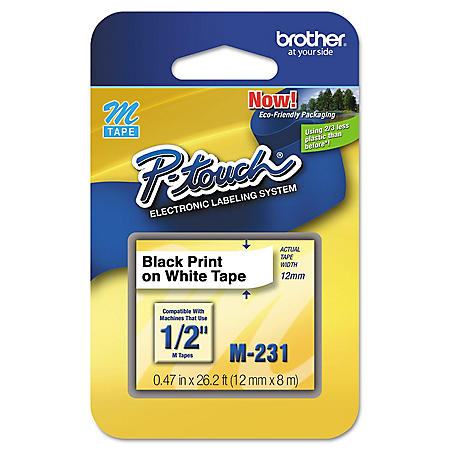 "Brother P-Touch M231 Label Tape, 1/2"", Black on White"