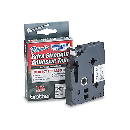 """Brother P-Touch - TZeS231 Label Tape, EXTRA-Strength, 1/2"""", Black on White"""