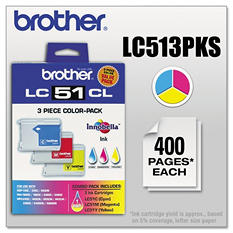 Brother LC51 Ink Cartridge,Color (3 pk., 400 Page Yield)