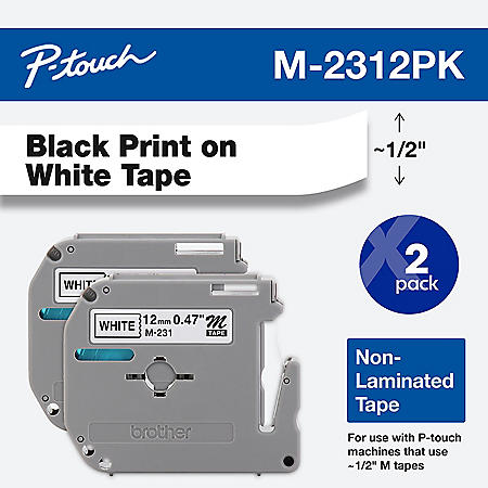 Brother P-Touch - M Series Tape Cartridges for P-Touch Labelers, 1/2w, Black on White - 2 ct.