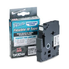 "Brother P-Touch - TZeFX231 Label Tape, Flexible, 1/2"", Black on White"
