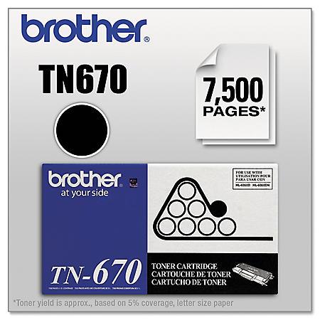 Brother TN670 High-Yield Toner Cartridge, Black (7,500 Yield)