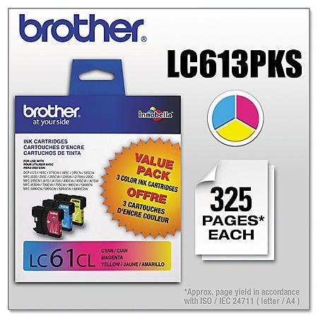 Brother LC613PKS (LC-61) Innobella Ink, Cyan/Magenta/Yellow (325 Page Yield, 3 pk.)