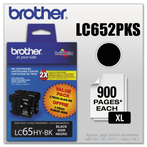 Brother LC652PKS (LC-65) Innobella High-Yield Ink, Black (900 Page Yield, 2 pk.)
