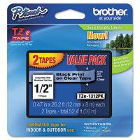 Brother P-Touch - TZe Standard Adhesive Laminated Labeling Tapes, 1/2w, Black on Clear - 2 ct.