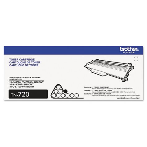 Brother TN720, TN750 or TN780 Toner Cartridge, Black, Select Page Yield