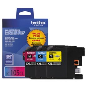 Brother LC105 Innobella Super High Yield Ink Cartridge, Black (1,200 Page Yield, 3 pk.)