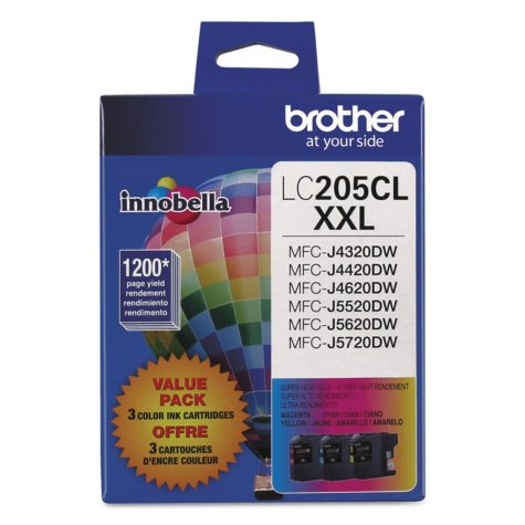 Brother LC2053PKS High-Yield Ink, Cyan/Magenta/Yellow (1200 Page Yield)