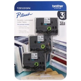 Brother P-Touch TZe12313PK Laminated Tape for Brother Label Makers- 3 Pack