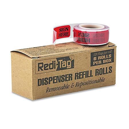 """Redi-Tag - Right Arrow Flag Refills - """"Sign Here"""" - Red - 6 Rolls of 120 Flags/Box"""