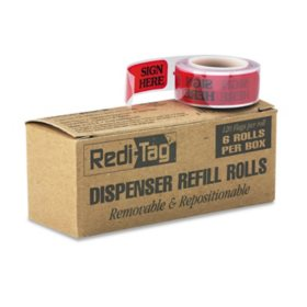 "Redi-Tag - Right Arrow Flag Refills - ""Sign Here"" - Red - 6 Rolls of 120 Flags/Box"