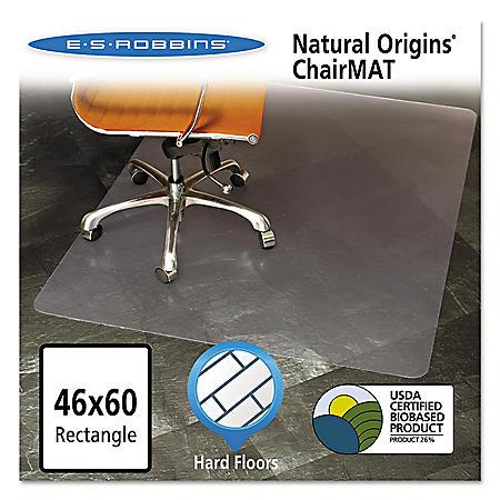 ES Robbins® Natural Origins Chair Mat for Hard Floors, 46 x 60, Clear