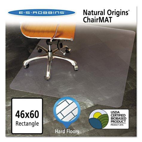 """ES Robbins 46"""" x 60"""" Natural Origins Chair Mat For Hard Floors, Clear"""