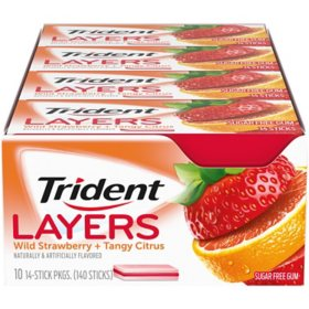 Trident Layers Strawberry & Citrus Sugar Free Gum (14 per pk., 10 pk.)
