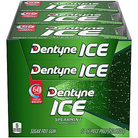 Dentyne Ice Spearmint Sugar Free Gum (16 pieces, 12 pk.)