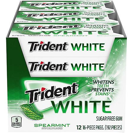Trident White Spearmint Sugar Free Gum (16 pieces, 12 pk.)