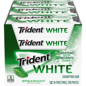 Trident White Spearmint Sugar Free Gum (16 pieces, 12 pk.)