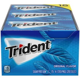 Trident Original Flavor Sugar Free Gum (14 pieces, 15 pk.)