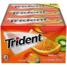 Trident Tropical Twist Sugar Free Gum (14 per pk., 15 pk.)