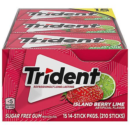 Trident Island Berry Lime Sugar Free Gum (14 pieces, 15 pk.)