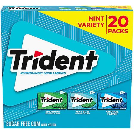 Trident Mint Variety Pack Sugar Free Gum (14 per pk., 20 pk.)