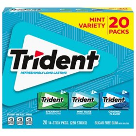 Trident Mint Variety Pack Sugar Free Gum, 20 Packs of 14 Pieces (280 Total Pieces)
