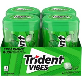 Trident Vibes Spearmint Rush Sugar Free Gum (4 bottles)