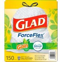 Glad ForceFlex Tall Kitchen Drawstring White Trash Bags, Gain Original Scent with Febreze Freshness (13 gal., 150 ct.)