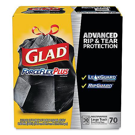 "Glad ForceFlexPlus Drawstring Large Trash Bags, 30 gal, 1.05 mil, 30"" x 32"", Black (70 ct.)"