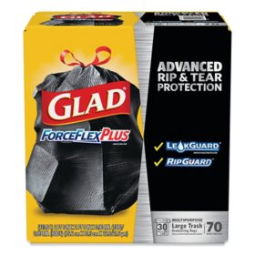 "Glad ForceFlexPlus Drawstring Large Trash Bags, 30 gal, 1.05 mil, 30"" x 32"", Black (70 ct.)"