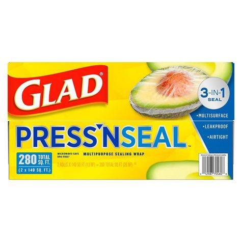 Glad Press'n Seal Food Wrap, 140 Square Foot Roll (2 pk.)