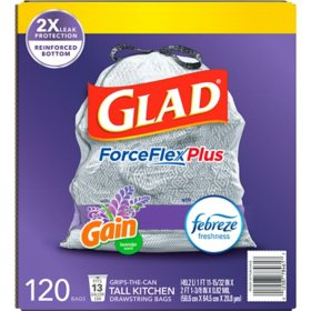 Glad Tall Kitchen Drawstring Trash Bags, ForceFlexPlus, 13 Gallon White Trash Bag, Mediterranean Lavender (120 ct.)